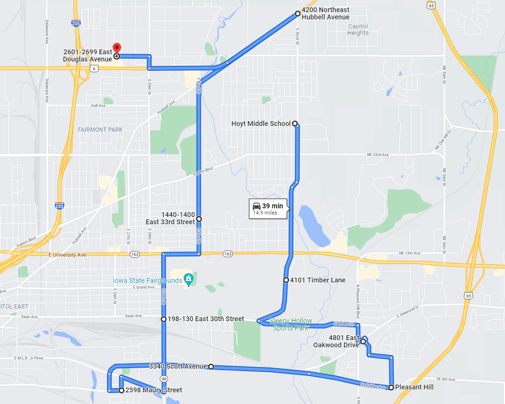Late Bus Route